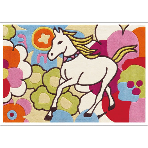 Arte Espina Girls Designer Rug Horse and Flowers Multi 160x110cm - Rugs Of Beauty