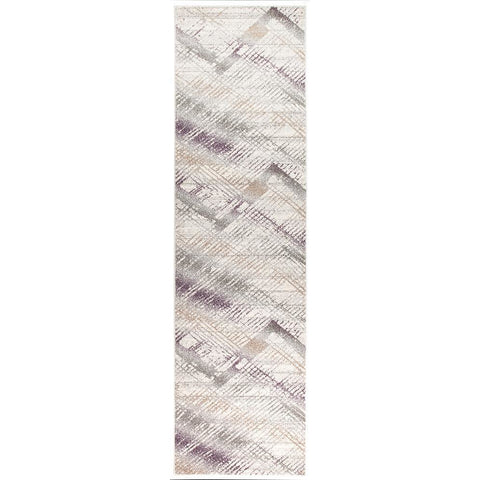Luna 420 Purple Multi Coloured Abstract Patterned Modern Runner Rug - Rugs Of Beauty - 1