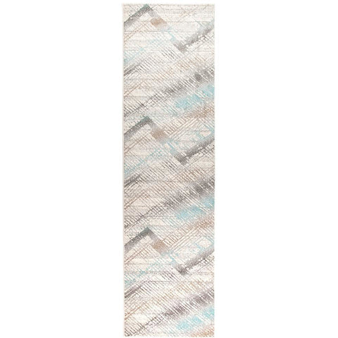 Luna 420 Blue Multi Coloured Abstract Patterned Modern Runner Rug - Rugs Of Beauty - 1