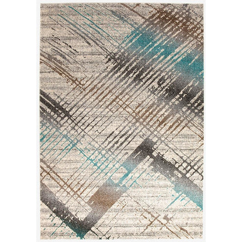 Luna 420 Blue Multi Coloured Abstract Patterned Modern Rug - Rugs Of Beauty - 1