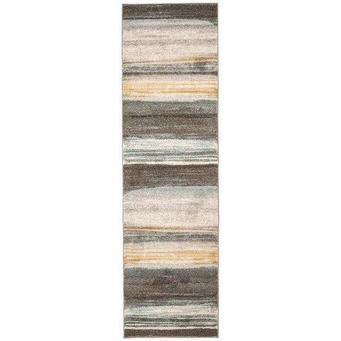 Luna 422 Multi Coloured Abstract Stripe Patterned Modern Runner Rug - Rugs Of Beauty - 1