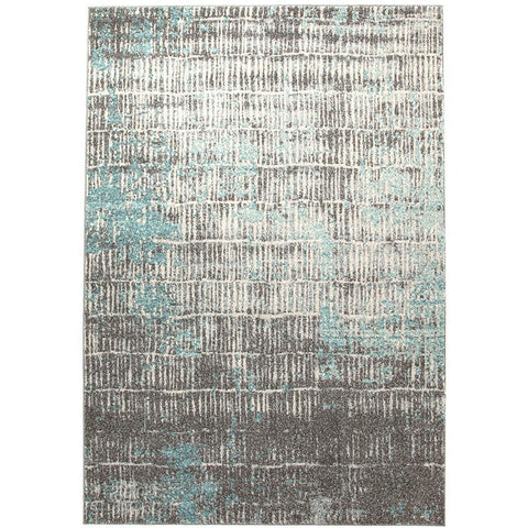 Luna 423 Blue Grey Beige Abstract Patterned Modern Rug - Rugs Of Beauty - 1