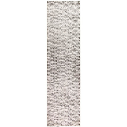 Luna 425 Grey Beige Diamond Patterned Modern Runner Rug - Rugs Of Beauty - 1