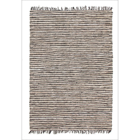 Bondi Leather and Jute Flatweave Rug Black White - Rugs Of Beauty