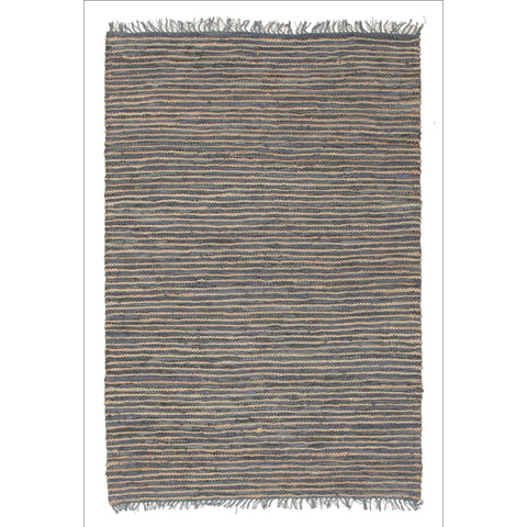 Bondi Leather and Jute Flatweave Rug Grey - Rugs Of Beauty - 1