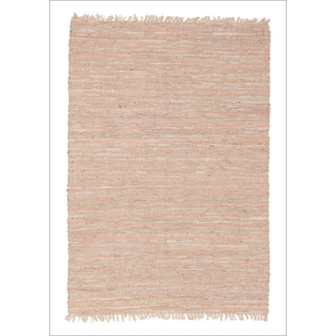 Bondi Leather and Jute Flatweave Rug Nude Pink - Rugs Of Beauty