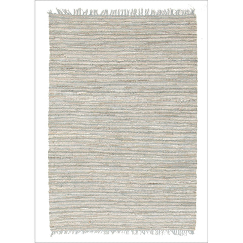 Bondi Leather and Jute Flatweave Rug Sky Blue - Rugs Of Beauty