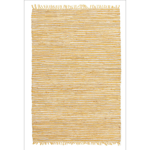 Bondi Leather and Jute Flatweave Rug Yellow - Rugs Of Beauty