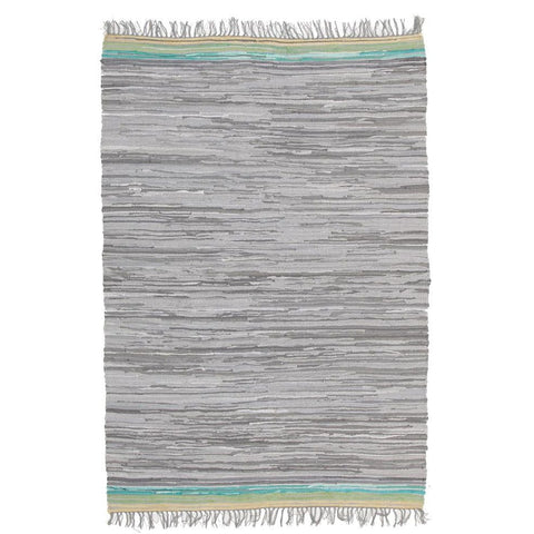 Atrium Hunter Grey Designer Flatweave Cotton Rug - Rugs Of Beauty