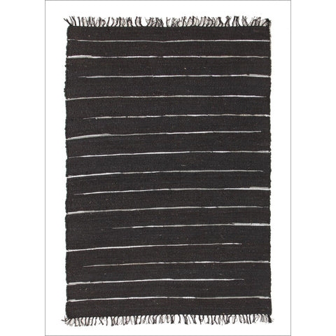 Saville Jute and Leather Flatweave Rug Black - Rugs Of Beauty