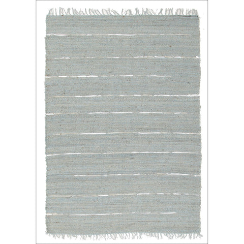 Saville Jute and Leather Flatweave Rug Blue - Rugs Of Beauty - 1