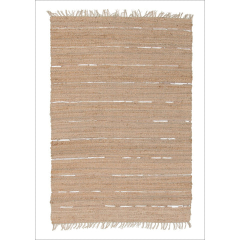Saville Jute and Leather Flatweave Rug Natural - Rugs Of Beauty
