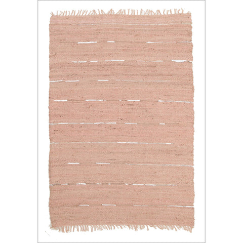 Saville Jute and Leather Flatweave Rug Nude Pink - Rugs Of Beauty - 1