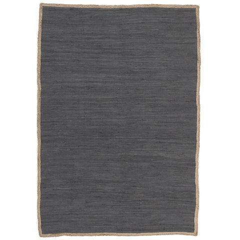 Atrium Play Charcoal Designer Flatweave Cotton Jute Rug - Rugs Of Beauty