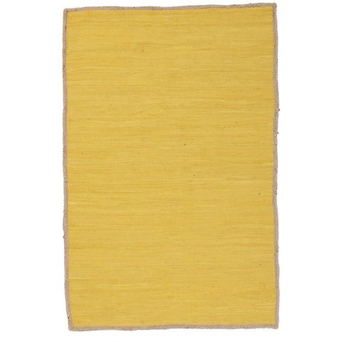 Atrium Play Yellow Designer Flatweave Cotton Jute Rug - Rugs Of Beauty