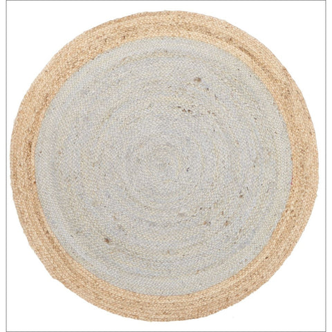 Round Jute Natural Rug Silver Blue - Rugs Of Beauty