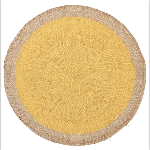 Round Jute Natural Flatweave Rug Yellow - Rugs Of Beauty