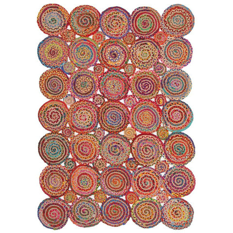 Atrium Pop Multi Cotton Jute Flatweave Patterned Rug - Rugs Of Beauty
