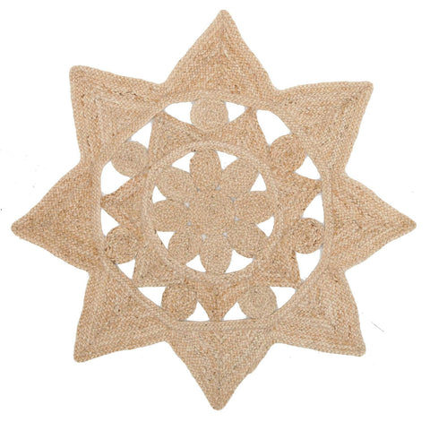 Atrium Stellar Natural Round Flat Weave Star Designer Rug - Rugs Of Beauty