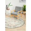Vedi 2671 Grey Rose Transitional Round Rug - Rugs Of Beauty - 4