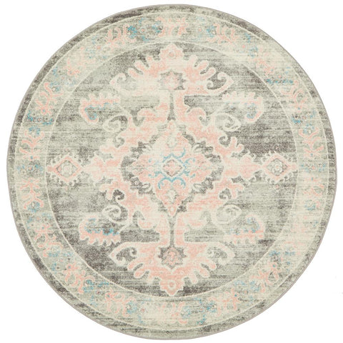 Vedi 2671 Grey Rose Transitional Round Rug - Rugs Of Beauty - 1