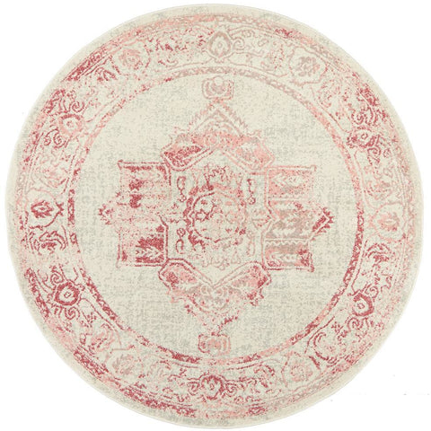 Vedi 2672 Rose Beige Transitional Round Rug - Rugs Of Beauty - 1
