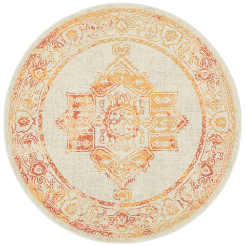 Vedi 2672 Yellow Orange Earth Transitional Round Rug - Rugs Of Beauty - 1