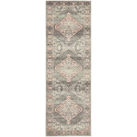 Vedi 2673 Grey Rose Transitional Runner Rug - Rugs Of Beauty - 1