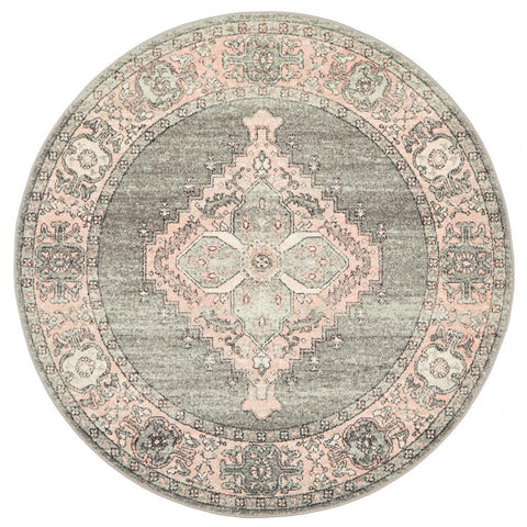 Vedi 2673 Grey Rose Transitional Round Rug - Rugs Of Beauty - 1