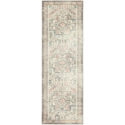 Vedi 2674 Silver Grey Rose Multi Coloured Transitional Runner Rug - Rugs Of Beauty - 1