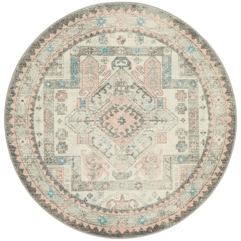 Vedi 2674 Silver Grey Rose Multi Coloured Transitional Round Rug - Rugs Of Beauty - 1