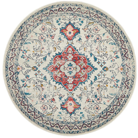 Vedi 2675 Rose Blue Beige Transitional Round Rug - Rugs Of Beauty - 1