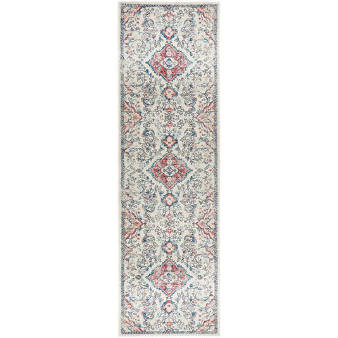 Vedi 2675 Rose Blue Beige Transitional Runner Rug - Rugs Of Beauty - 1