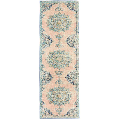 Vedi 2676 Pastel Rose Blue Multi Colour Transitional Runner Rug - Rugs Of Beauty - 1