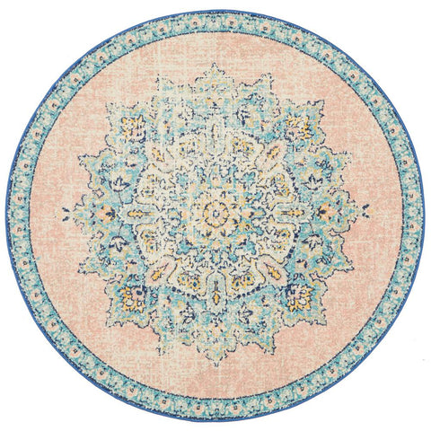 Vedi 2676 Pastel Rose Blue Multi Colour Transitional Round Rug - Rugs Of Beauty - 1