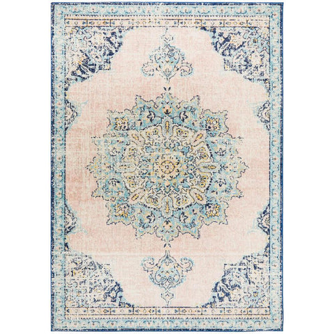 Vedi 2676 Pastel Rose Blue Multi Colour Transitional Rug - Rugs Of Beauty - 1