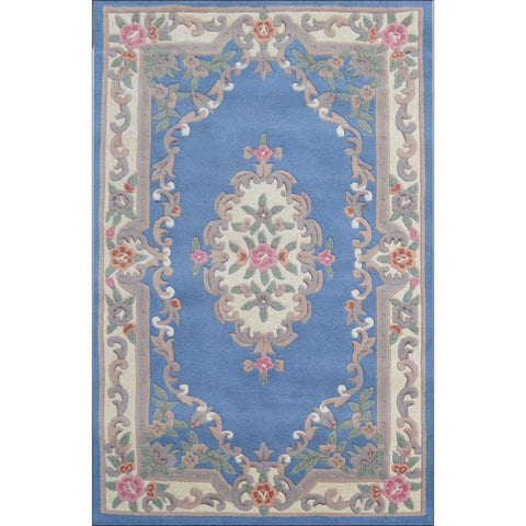 Handwoven French Abussan Wool Rug - Avolon - Blue - Rugs Of Beauty - 1