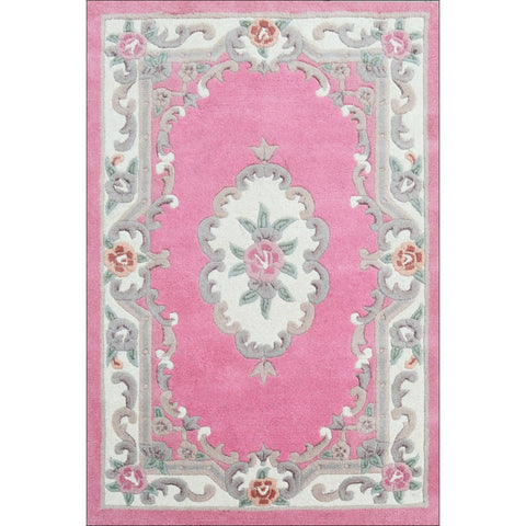 Handwoven French Abussan Traditional Wool Rug - Avolon - Pink - Rugs Of Beauty - 1