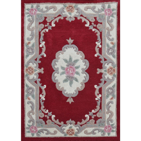 Handwoven French Abussan Wool Rug - Avolon - Red - Rugs Of Beauty - 1