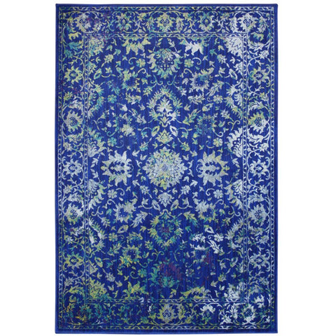 Halifax Blue Floral Multi Coloured Tabriz Transitional Patterned Rug - Rugs Of Beauty