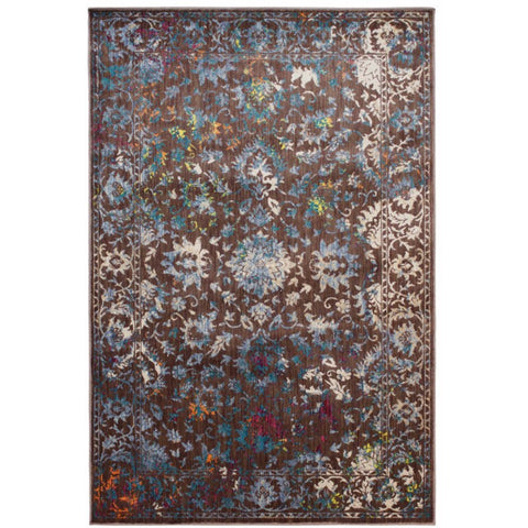Halifax Chocolate Floral Multi Coloured Tabriz Transitional Patterned Rug - Rugs Of Beauty