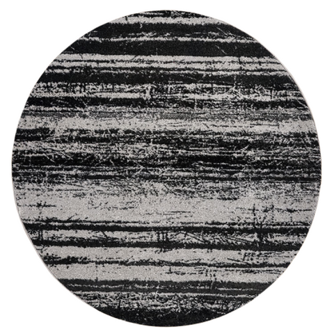 Kara 929 Grey Beige Modern Abstract Pattern Round Rug - Rugs Of Beauty - 1