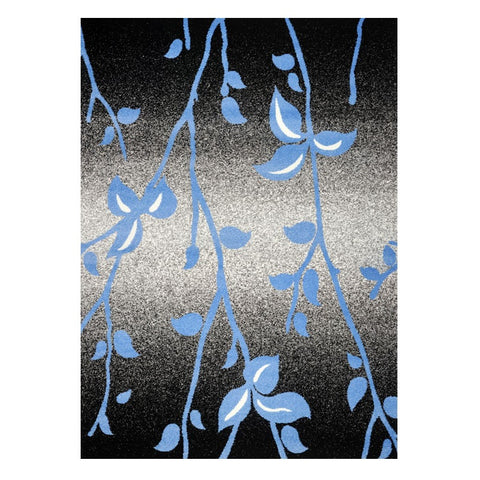 Kara 930 Blue Black Floral Modern Abstract Pattern Rug - Rugs Of Beauty - 1
