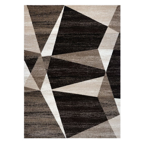 Kara 931 Beige Black Geometric Modern Abstract Pattern Rug - Rugs Of Beauty - 1