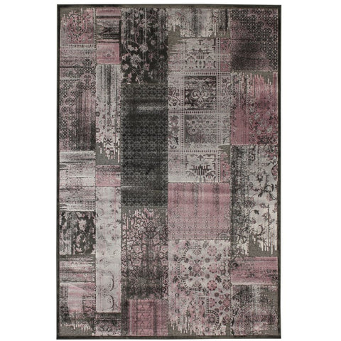 Anapolis Pink, Grey and Charcoal Traditional Patchwork Patterned Rug