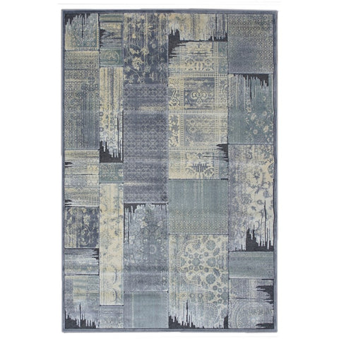 Anapolis Grey, Taupe and Charcoal Traditional Patchwork Patterned Rug - Rugs Of Beauty