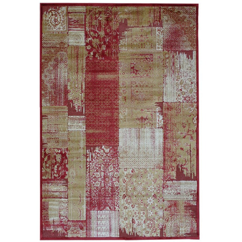 Anapolis Red, Beige and Green Traditional Patchwork Patterned Rug - Rugs Of Beauty