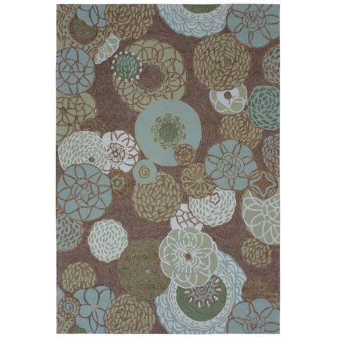 Summerland Green Indoor Outdoor Floral Patterned Hand Tufted Flatweave Rug - Rugs Of Beauty