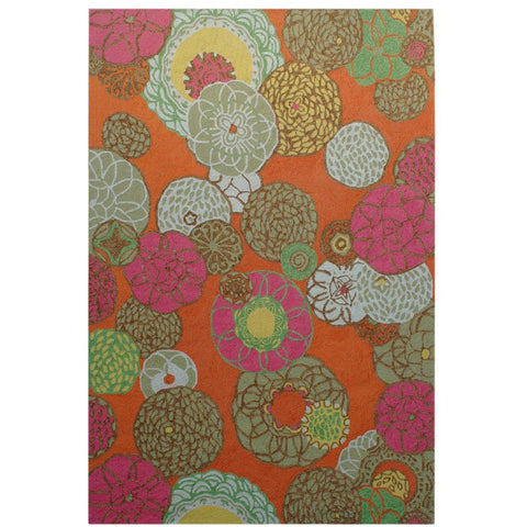 Summerland Orange Indoor Outdoor Floral Patterned Hand Tufted Flatweave Rug - Rugs Of Beauty