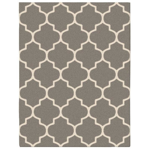 Dover Lattice Grey Beige Modern Trellis Rug - 1